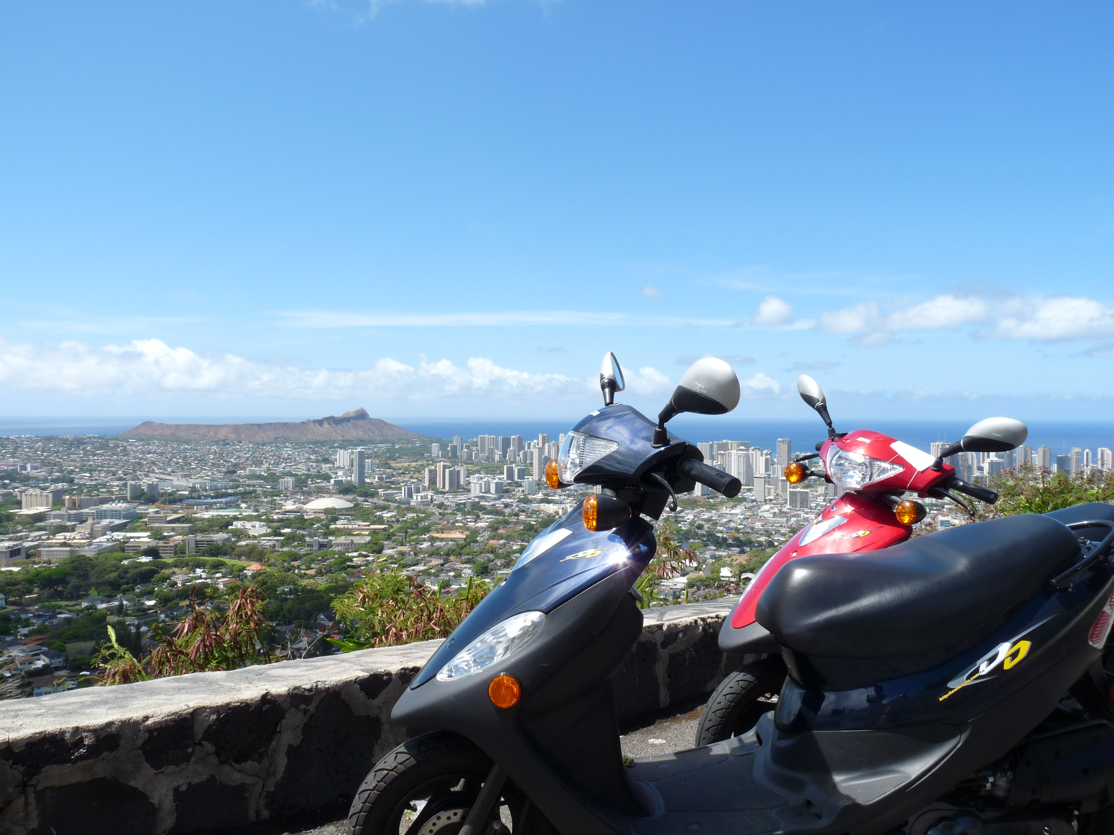 Adam's mopeds at Tantalus