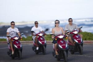 Hawaiian Style Moped Rentals at Sandy's Beach