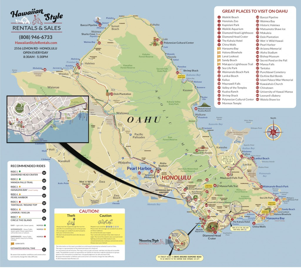 Oahu Moped Map-Hawaii Moped & Scooter Rental Tour Map